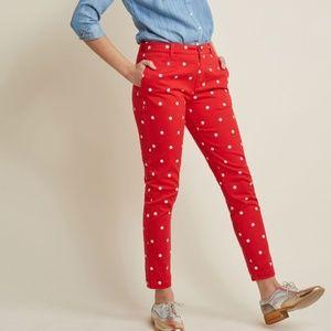 ModCloth New Legendary Lifestyle Pants Red Polka